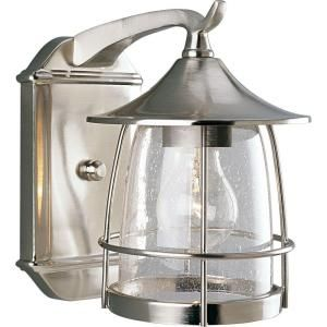 Progress Lighting Prairie Collection Brushed Nickel 1 light Wall Lantern P5763 09