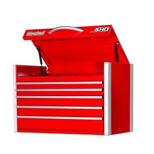 International Super Heavy Duty 35 in. 5 Drawer Ball Bearing Slides Top Chest in Red SRT 3505RD