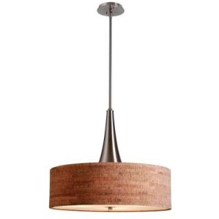 Bulletin 3 Light Ceiling Brushed Steel with Cork Shade Pendant 93013BS