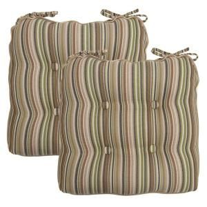 Hampton Bay Green Stripe Deluxe Tufted Outdoor Chair Cushion (2 Pack) 7358 02003100