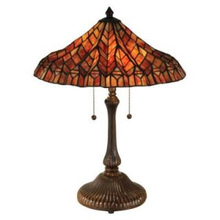 Dale Tiffany 24 in. Red Lotus Antique Bronze Table Lamp TT13059