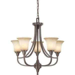 Glomar 5 Light Vintage Bronze Chandelier with Auburn Beige Glass Shade HD 4166