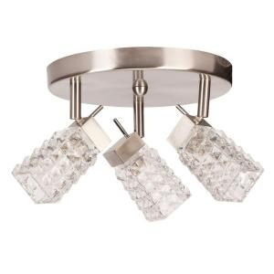 Globe Electric Lux Collection 3 Lamp Brushed Steel Canopy Lighting Fixture DISCONTINUED 58522