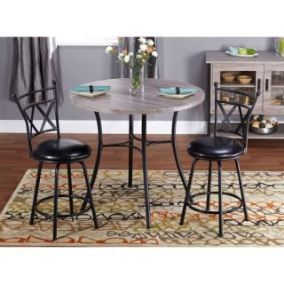 Jaxx Collection 3 Piece Adjustable Height Dining Set, Black Furniture