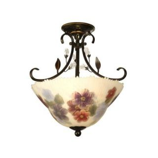Dale Tiffany 2 Light Cosmos Hand Painted Anti Golden Sand Semi Flush Mount TH10492