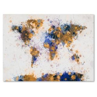 Trademark Fine Art 30 in. x 47 in. Paint Splashes World Map 2 Canvas Art MT0204 C3047GG