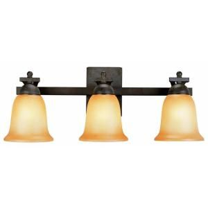 Commercial Electric 3 Light Rustic Iron Vanity with Antique Ivory Glass Shade ESS1313
