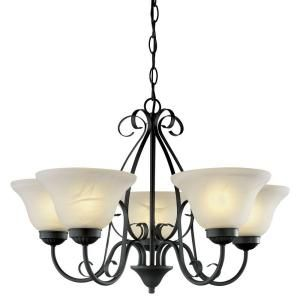 Hampton Bay 5 Light Matte Black Chandelier WB0347