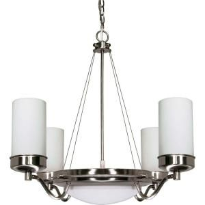 Glomar Polaris 6 Light Brushed Nickel Chandelier with Satin Frosted Glass Shades HD 607