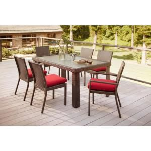 Hampton Bay Beverly 7 Piece Patio Dining Set with Dragon Fruit Cushions 65 23377