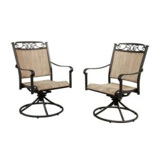 Hampton Bay Santa Maria Swivel Rocker Patio Dining Chair (2 Pack) S2 ADQ10801