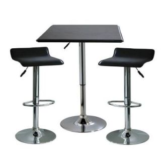 AmeriHome 35 in. H Contemporary Style Adjustable Height Bar Table with 2 Backless Stools (3 Piece) BSSET8