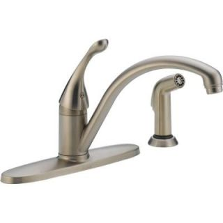 Delta Collins Single Handle Side Sprayer Kitchen Faucet in Stainless 440 SSWE DST