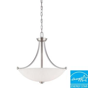 Illumine Bentley 3 Light Brushed Nickel Pendant with Frosted Glass Shade HD 5016