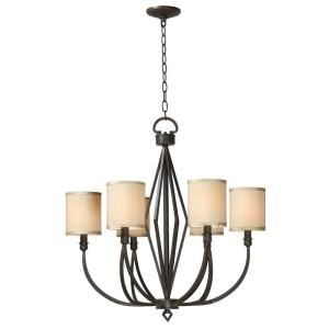 World Imports Decatur Rust Finish 6 Lights Iron Chandelier with Shades WI350642