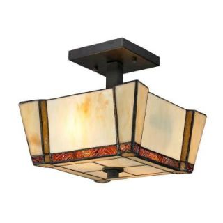 Dale Tiffany Paragon 2 Light Dark Bronze Semi Flush Mount with Art Glass Shade TH12457