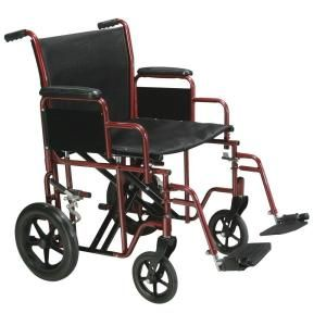 Drive Medical Bariatric Heavy Duty Transport Wheelchair with Swing away Footrest BTR20 R
