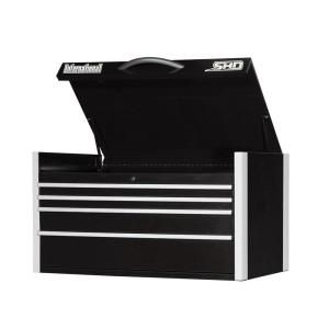International Super Heavy Duty 42 in. 4 Drawer Ball Bearing Slides Top Chest in Black SRT 4204BK