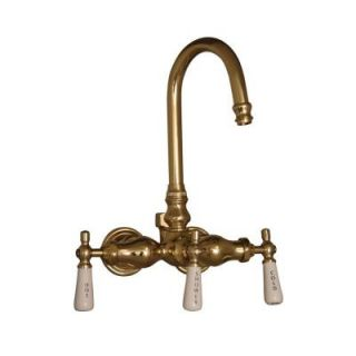Pegasus 3 Handle Claw Foot Tub Diverter Faucet without Hand Shower for Acrylic Tub in Polished Brass 4000 PL PB