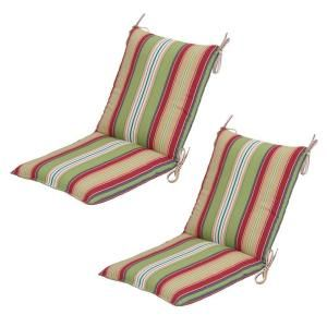 Hampton Bay Lancaster Stripe Mid Back Outdoor Chair Cushion (2 Pack) 7410 02001200