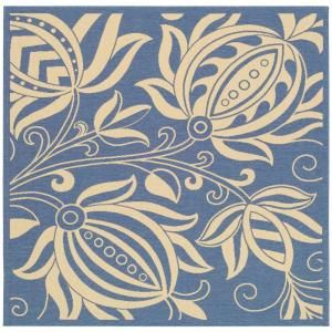 Safavieh Courtyard Blue/Natural 7 ft. 10 in. x 7 ft. 10 in. Square Area Rug CY2961 3103 8SQ