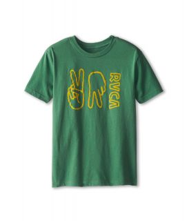 RVCA Kids VA Hands Boys Short Sleeve Pullover (Green)