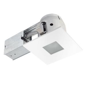 Globe Electric 4 in. Square Shower White Matte Recessed Lighting Kit 90653