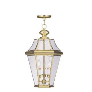 Filament Design Providence Collection 3 Light 21 in. Outdoor Polished Brass Finish Clear Beveled Glass Pendant CLI MEN2365 02