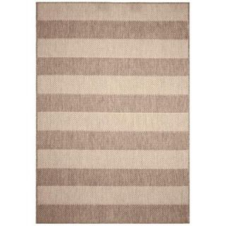 Direct Home Textiles Textured Stripe Khaki 8 ft. x 11 ft. Indoor/Outdoor Area Rug DISCONTINUED 6774 96132 146