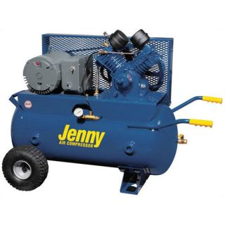 Jenny Products Inc 30 Gallon 5 HP Electric Motor 230 Volt Two Stage Wheeled Portable Air Compressor Tools