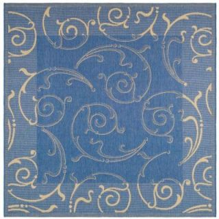 Safavieh Courtyard Blue/Natural 6.6 ft. x 6.6 ft. Square Area Rug CY2665 3103 7SQ