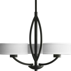 Progress Lighting Calven Collection 3 Light Forged Black Chandelier P4537 80