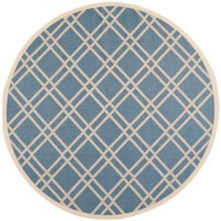 Safavieh Courtyard Blue/Beige 7.8 ft. x 7.8 ft. Round Area Rug CY6923 243 8R