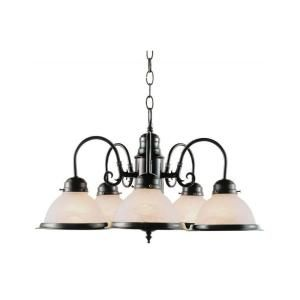 Filament Design Cabernet Collection 5 Light Oiled Bronze Chandelier with Marbleized Tea Stain Shade CLI WUP203012