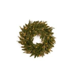 National Tree Company 24 in. Feel Real Frasier Grande Artificial Wreath with 70 Clear Lights PEFG4 330 24W