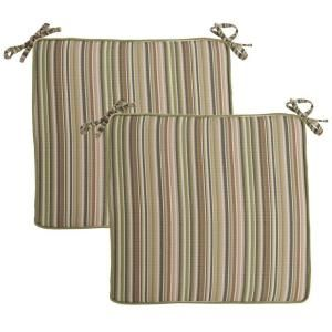 Hampton Bay Green Stripe Deluxe Outdoor Chair Cushion (2 Pack) 7347 02003100