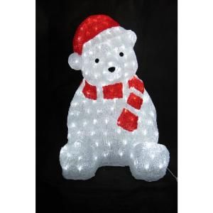 XEPA 22 in. Decorative Bear with Red Hat Sculpture LED Light EHX OS1027