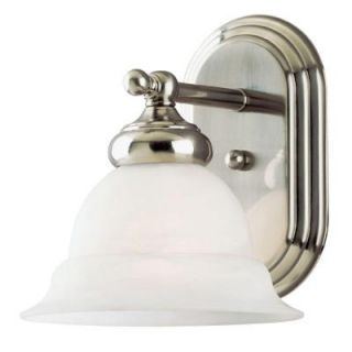 Westinghouse 1 Light Brushed Nickel Interior Wall Fixture with Frosted White Alabaster Glass 6733100