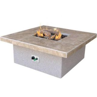 Cal Flame Stucco and Tile Square Propane Gas Fire Pit FPT S301 H