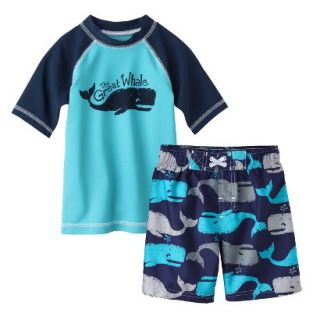 Circo Infant Toddler Boys Whale Rashguard and Swim Trunk Set   Blue 5T