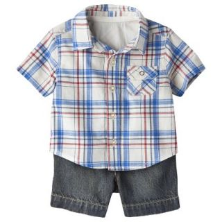Genuine Kids from OshKosh Boys Plaid Top and Denim Bottom Set   Cream/Blue 18 M