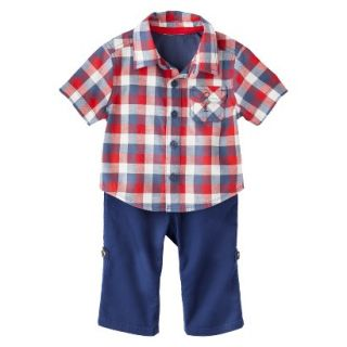Genuine Kids from OshKosh Boys Plaid Top and Convertible Bottom Set   Red/Blue