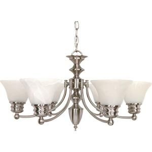 Glomar Empire 6 Light Brushed Nickel Chandelier with Alabaster Glass Bell Shades HD 356