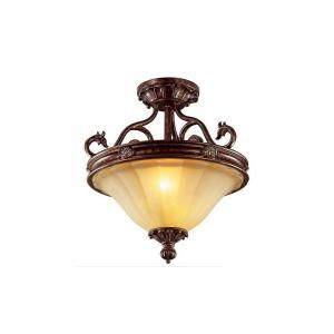 Hampton Bay Freemont Collection 2 Light Semi Flush Antique Bronze Ceiling Fixture DISCONTINUED 13378 011
