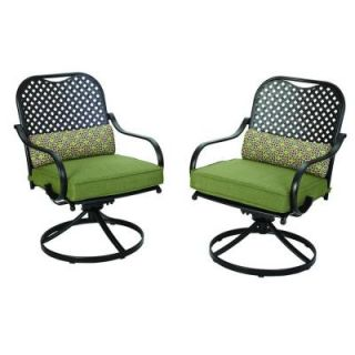 Hampton Bay Fall River Motion Patio Dining Chair with Moss Cushion (2 Pack) DY11034 DR 2