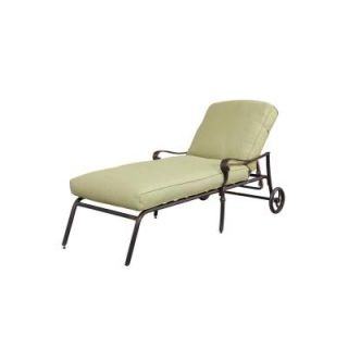 Hampton Bay Edington Patio Chaise Lounge with Celery Cushion 141034CLCBKD