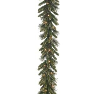 Martha Stewart Living 9 ft. Glittery Gold Pine Garland with 50 Clear Lights GPG3 319 9A
