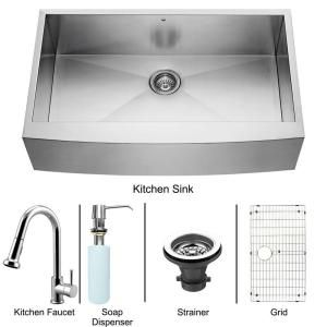 Vigo All in One Apron Front Stainless Steel 40x25.75x13.75 0 Hole Single Bowl Kitchen Sink and Chrome Faucet Set VG15140