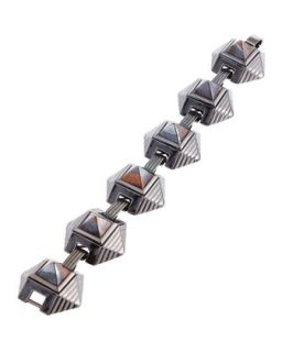 Lava Rock Caged Pyramid Bracelet, Blue/Orange