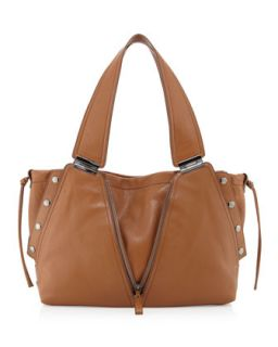 Kiera Leather Satchel Shoulder Bag, Tan